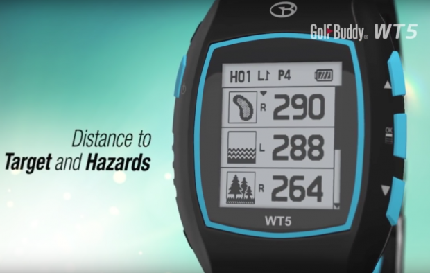 GolfBuddy WT5 Golf GPS Watch - distance to target and hazards