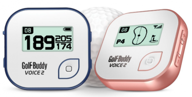 GolfBuddy Voice 2 Golf GPS Rangefinder Clip-on Blue and Rose Gold