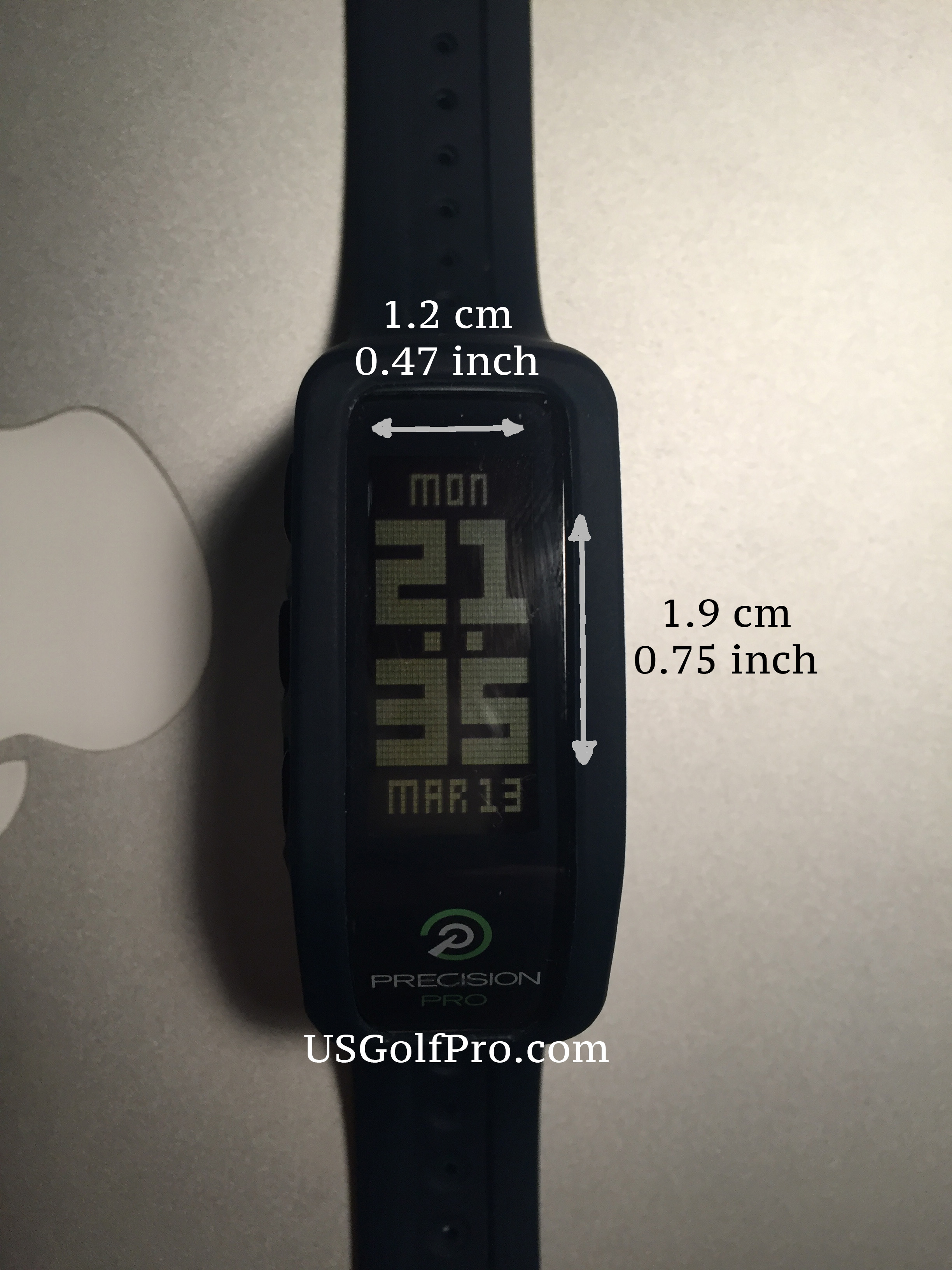 Precision Pro Golf GPS Band - dimension of display
