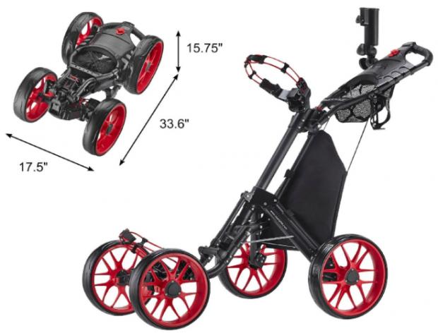 CaddyTek CaddyCruiser One-Click Folding 4-Wheel golf push cart - dimensions