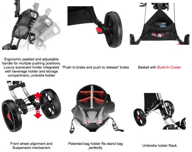 CaddyTek CaddyCruiser One-Click Folding 4-Wheel golf push cart - features