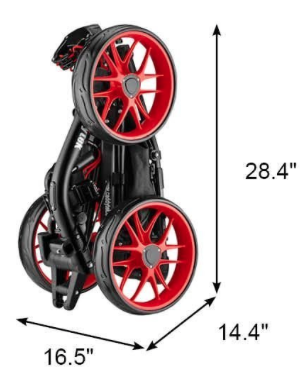 CaddyTek EZ-Fold 3 Wheel Golf Push Cart Red - dimensions