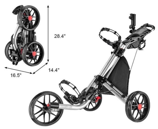 CaddyTek EZ-Fold 3 Wheel Golf Push Cart Silver - dimensions