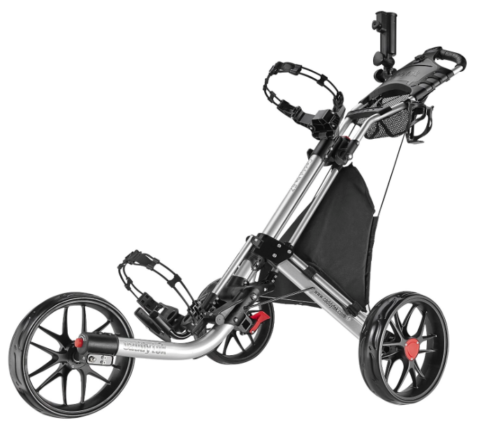 CaddyTek EZ-Fold 3 Wheel Golf Push Cart Silver
