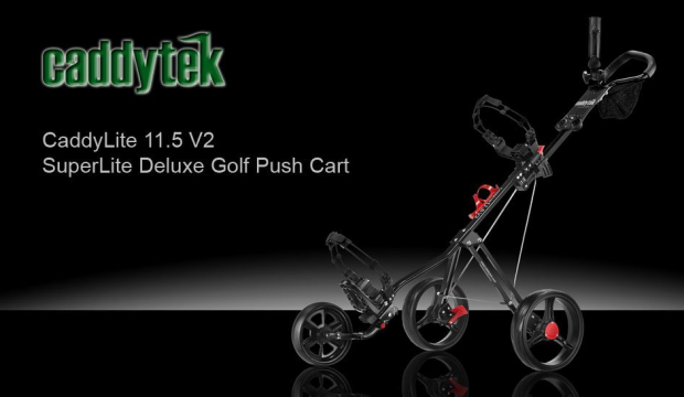 CaddyTek SuperLite Deluxe Golf Push Cart - advert