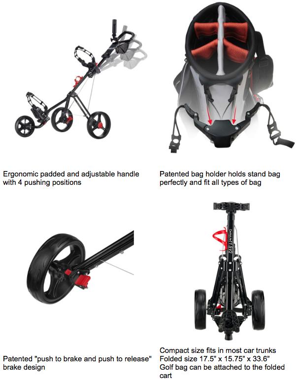 CaddyTek SuperLite Deluxe Golf Push Cart - features overview