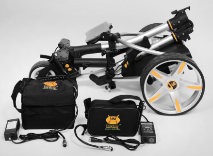 Bat-Caddy X3R Electric Golf Cart Caddy - folded with battery pack and charger