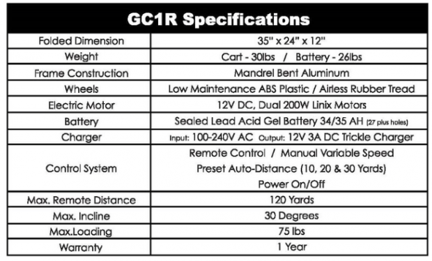 Spin It Golf Products GC1R electric golf push cart - specifications overview