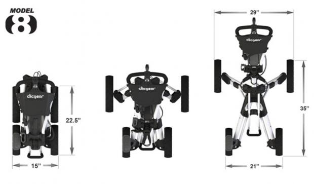 Clicgear Model 8.0 Golf Push Cart - dimensions