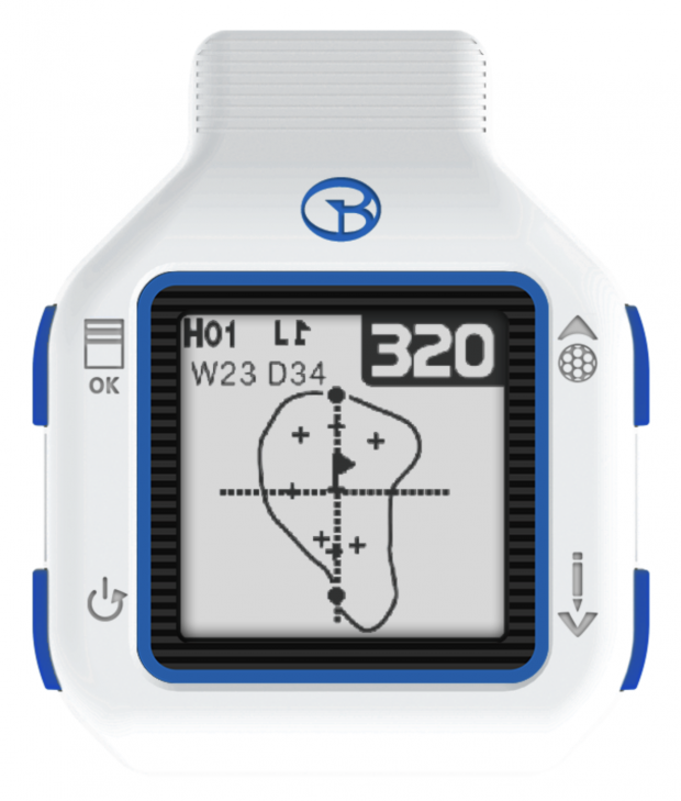 GolfBuddy CT2 Golf GPS Watch - distances to front:center:back of green