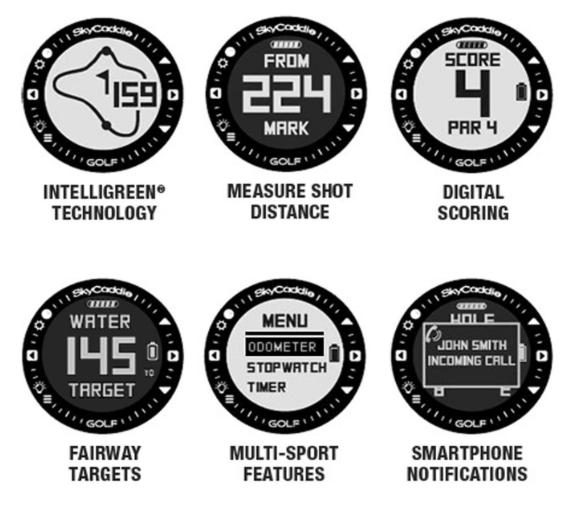 SkyCaddie LinxVue Golf GPS Watch Rangefinder - specifications and features