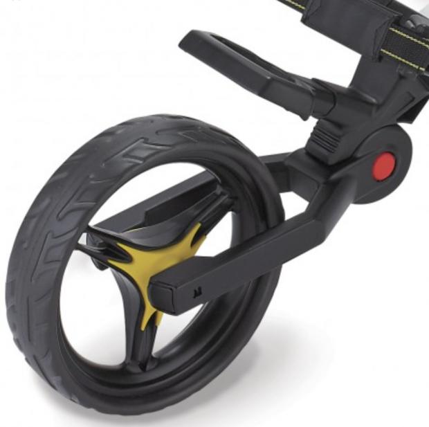 Bag Boy C3 Golf Push Cart front wheel close up
