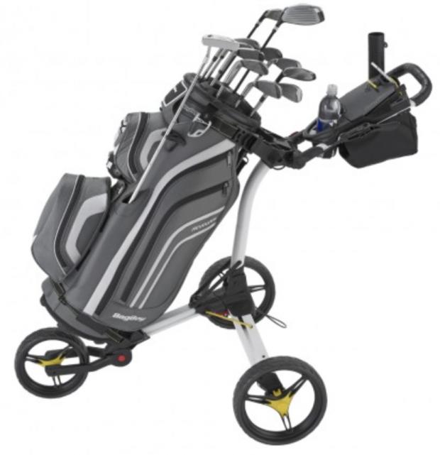 Bag Boy C3 Golf Push Cart with golf bag