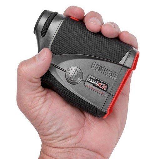 Bushnell Pro X2 Golf Rangefinder - compact in hand