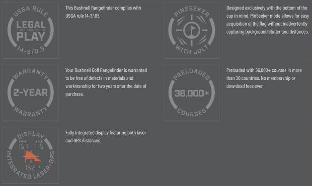 Bushnell Hybrid GPS laser golf rangefinder - features