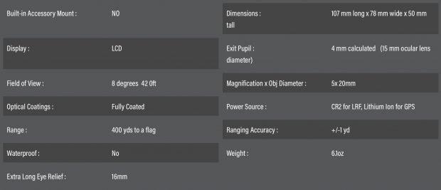 Bushnell Hybrid GPS laser golf rangefinder - specs