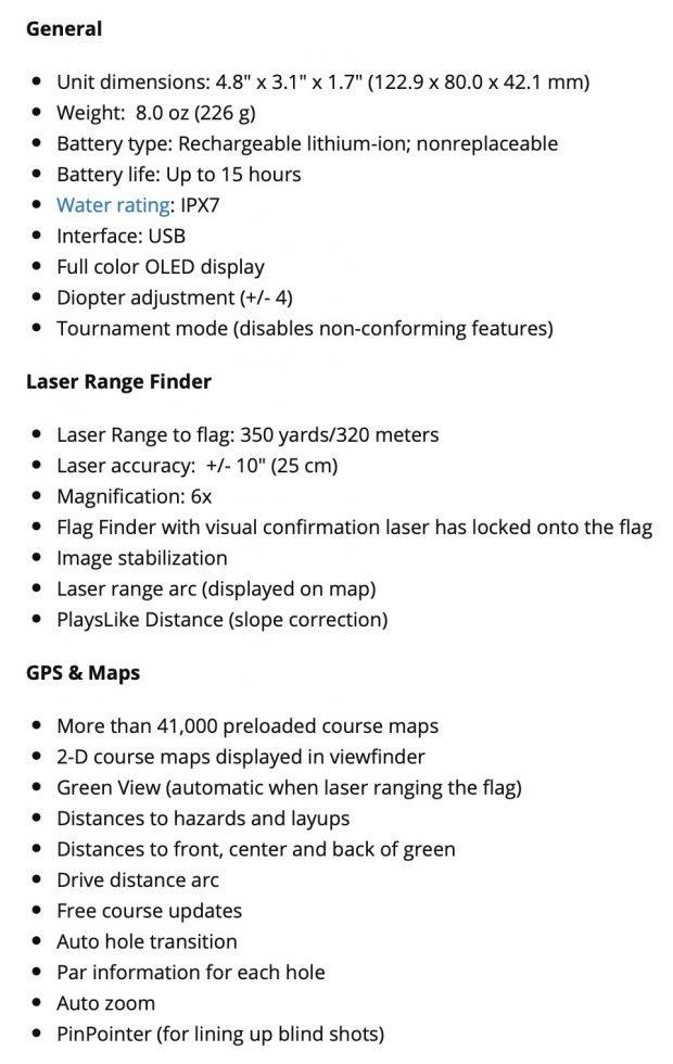Garmin Approach Z80 GPS Laser Range Finder - Specifications